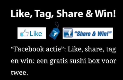 Like Share Tag actie:win een gratis Sushibox voor twee.
