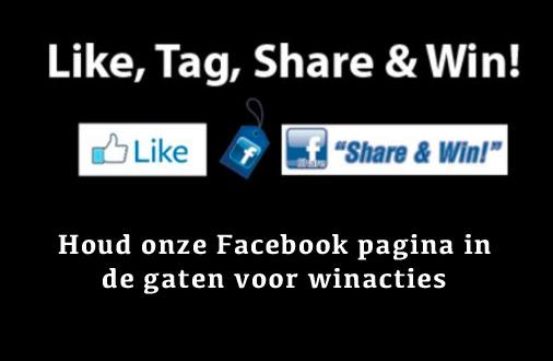 Like Share Tag en win. Kijk op onze facebook pagina
